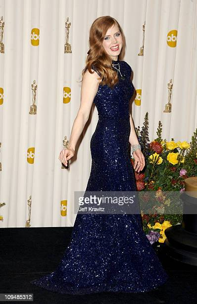 Actress Amy Adams poses in the press room during the 83rd Annual Academy Awards held at the Kodak Theatre on February 27 2011 in Los Angeles...