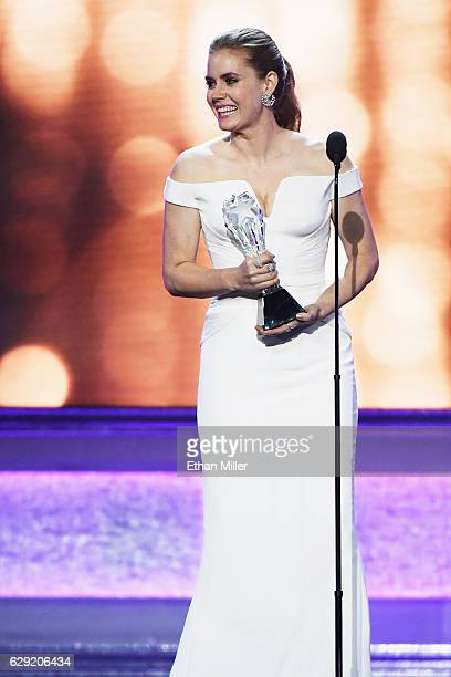 Actress Amy Adams presents the #SeeHer Award onstage during the 22nd Annual Critics' Choice Awards at Barker Hangar on December 11 2016 in Santa...