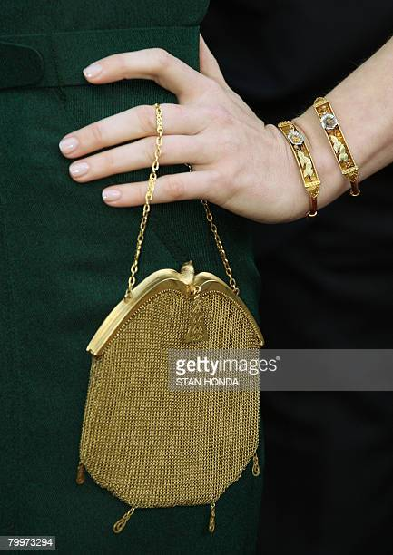 Actress Amy Adams' purse and bracelets are seen as she arrives for the 80th Annual Academy Awards at the Kodak Theater in Hollywood California on...