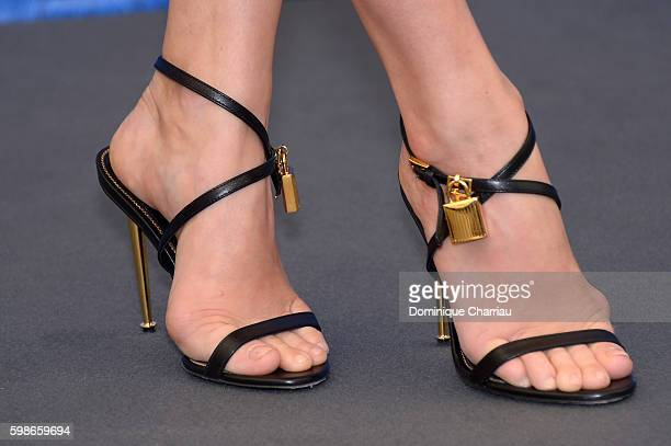 Actress Amy Adams shoes detail attends a photocall for 'Nocturnal Animals' during the 73rd Venice Film Festival at Palazzo del Casino on September 2...