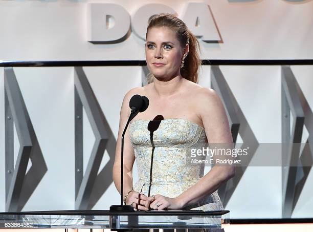 Actress Amy Adams speaks onstage during the 69th Annual Directors Guild of America Awards at The Beverly Hilton Hotel on February 4 2017 in Beverly...