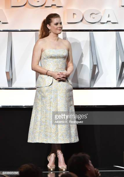 Actress Amy Adams stands onstage during the 69th Annual Directors Guild of America Awards at The Beverly Hilton Hotel on February 4 2017 in Beverly...