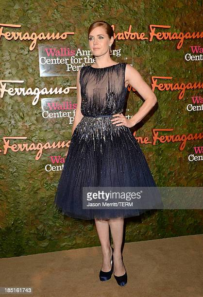Actress Amy Adams wearing Ferragamo arrives at the Wallis Annenberg Center for the Performing Arts Inaugural Gala presented by Salvatore Ferragamo at...