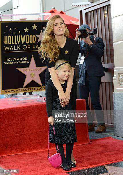 Actress Amy Adams with daughter Aviana Olea Le Gallo at her Star Ceremony held on The Hollywood Walk of Fame on January 11 2017 in Hollywood...
