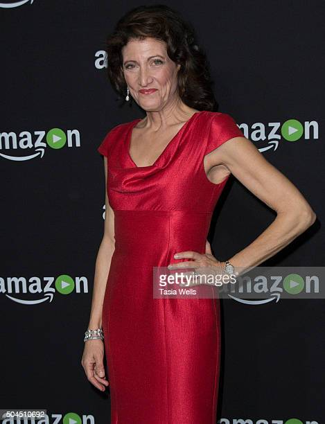 Actress Amy Aquino arrives at the Amazon Studios Golden Globes party at The Beverly Hilton Hotel on January 10 2016 in Beverly Hills California