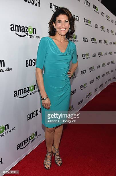 Actress Amy Aquino arrives for the red carpet premiere screening for Amazon's first original drama series 'Bosch' at The Dome at Arclight Hollywood...