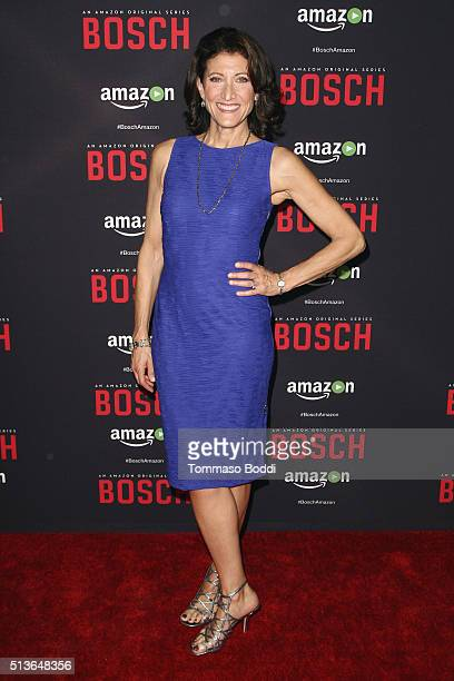 "Actress Amy Aquino attends the Premiere Of Amazon's ""Bosch"" Season 2 held at the SilverScreen Theater at the Pacific Design Center on March 3, 2016..."