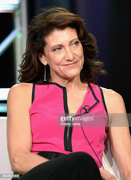 Actress Amy Aquino sits on the panel for Bosch during the Amazon Winter 2016 Television Critics Association Session at Langham Hotel on January 11...