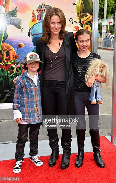 Actress Amy Brenneman and her children Bodhi Russell Silberling and Charlotte Tucker Silberling arrive at the Los Angeles premiere of Cloudy With A...