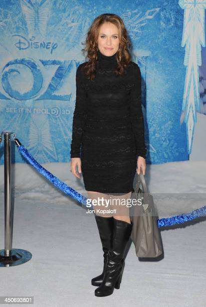 Actress Amy Brenneman arrives at the Los Angeles Premiere 'Frozen' at the El Capitan Theatre on November 19 2013 in Hollywood California