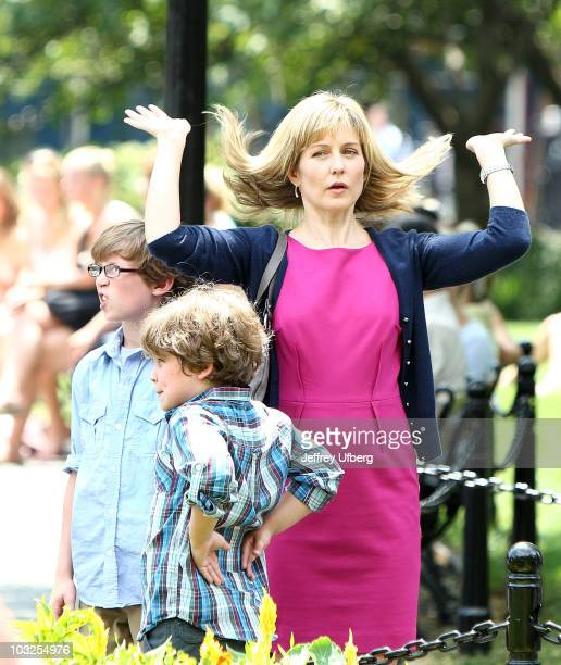 Actress Amy Carlson filming on location for 'Blue Bloods' on the Streets of Manhattan on August 5 2010 in New York City