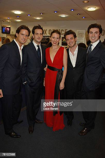 Actress Amy Carson poses with members of the classical singing group Blake Stephen Bowman Dominic Tighe Jules Knight and Oliver Baines at the UK...