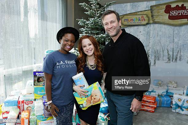 Actress Amy Davidson and Kacy Lockwood attend 2015 Santa's Secret Workshop Benefiting LA Family Housing at Andaz Hotel on December 5 2015 in Los...