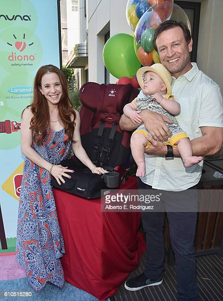 Actress Amy Davidson Kacy Lockwood and Lennox Sawyer Lockwood attend the Step2 Favoredby Present The 5th Annual Red Carpet Safety Awareness Event at...