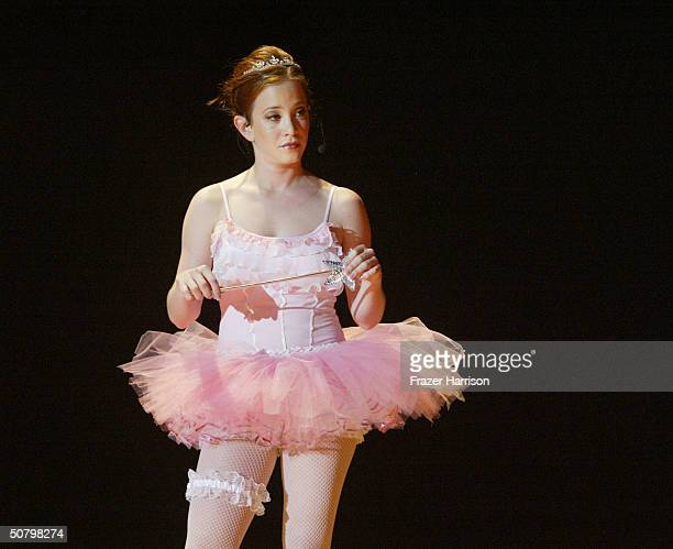 Actress Amy Davidson performs on stage at the 'weSparkle Night Take III Benefit at the Gindi Theatre on May 3 2004 in Bel Air California weSparkle...