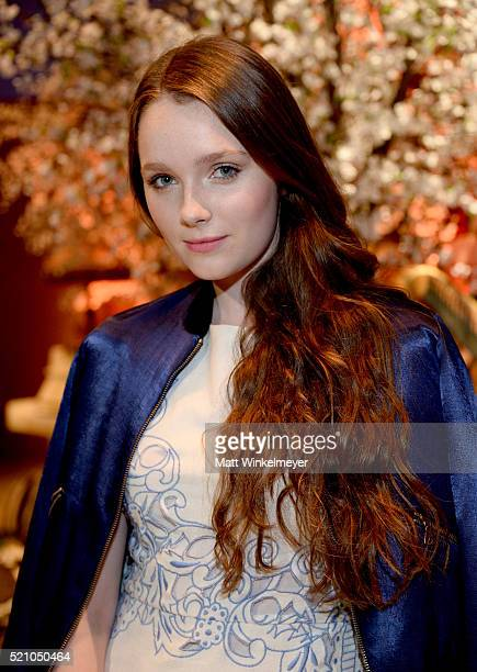 Actress Amy Forsyth attends the alice olivia by Stacey Bendet and Neiman Marcus present SeeNowBuyNow Runway Show at NeueHouse Los Angeles on April 13...