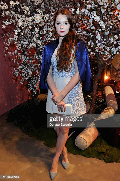 Actress Amy Forsyth attends the alice olivia by Stacey Bendet Los Angeles Runway Show at NeueHouse Los Angeles on April 13 2016 in Hollywood...