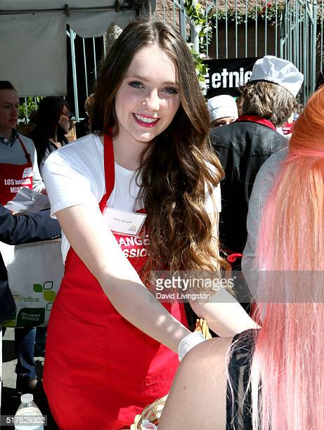 Actress Amy Forsyth attends the Los Angeles Mission's Easter Celebration Of New Life at Los Angeles Mission on March 25 2016 in Los Angeles California