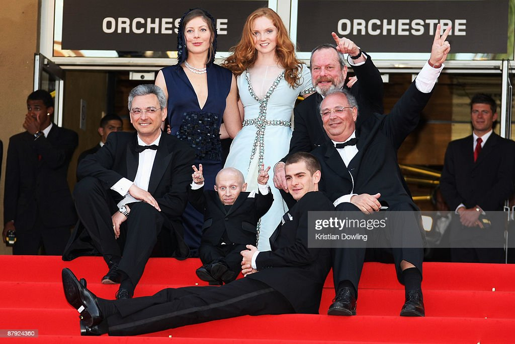 Actress Amy Gilliam and Lily Cole and director Terry Gilliam (Middle Row Left) Nicola Percorini and (Bottom Row) Actors Verne Troyer and Andrew Garfield attend The Imaginarium Of Doctor Parnassus Premiere at the Palais De Festivals during the 62nd International Cannes Film Festival on May 22, 2009 in Cannes, France.