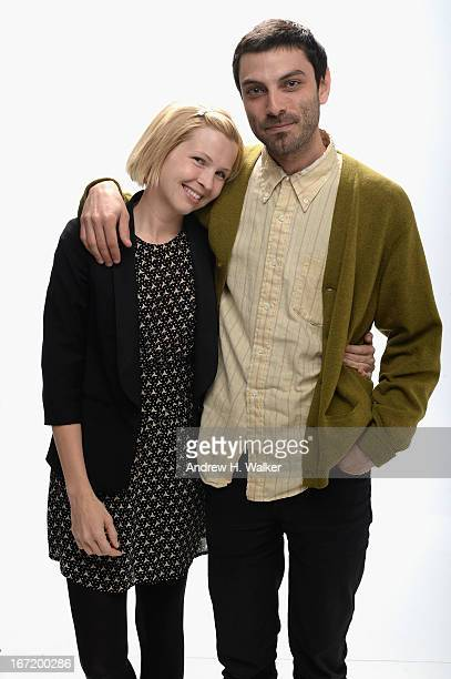 Actress Amy Grantham and director Matt Creed of the film 'Lily' pose at the Tribeca Film Festival 2013 portrait studio on April 22 2013 in New York...