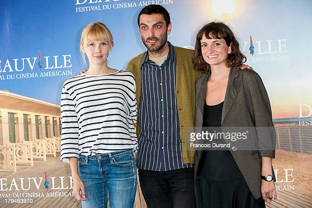 Actress Amy Grantham director Matt Creed and producer Isabella Tzenkova pose at a photocall for the film 'Lily' during the 39th Deauville Film...