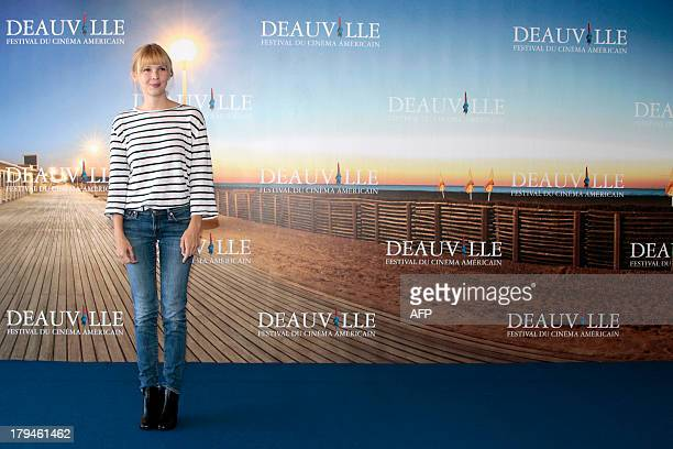 US actress Amy Grantham poses during a photocall to present 'Lily' her latest movie on September 4 2013 as part of the Deauville US Film Festival in...
