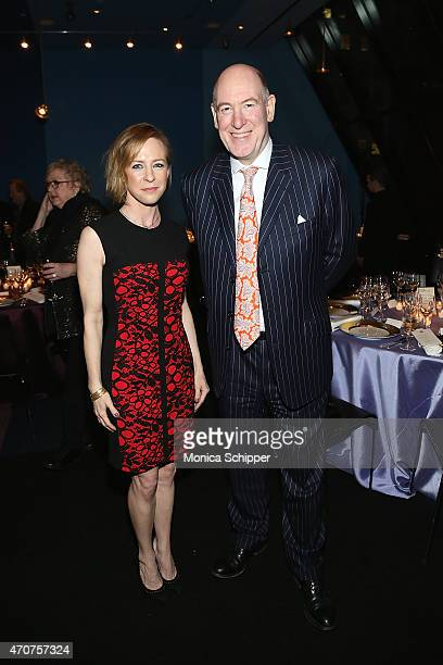 Actress Amy Hargreaves and Miles Young Worldwide Chairman and CEO of Ogilvy Mather attend Lafayette Premiere Chef Daniel Boulud Dinner at FIAF on...
