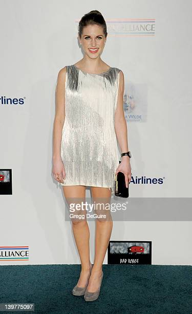 Actress Amy Huberman arrives at The USIreland Alliance Annual Oscar Wilde PreOscar Party at Bad Robot on February 23 2012 in Santa Monica California