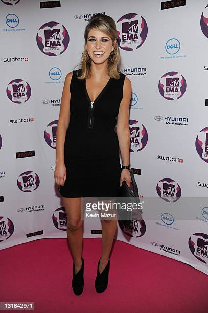 Actress Amy Huberman attend the MTV Europe Music Awards 2011 at the Odyssey Arena on November 6 2011 in Belfast Northern Ireland
