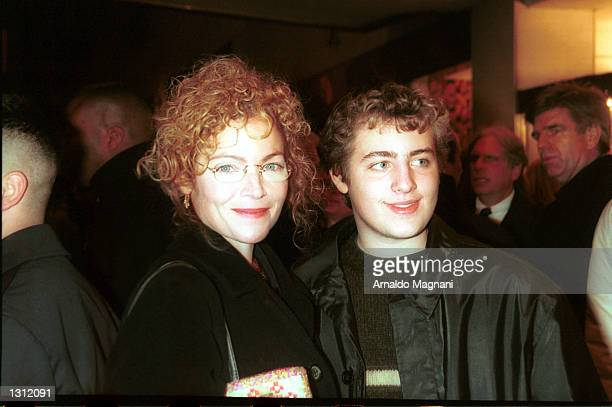 Actress Amy Irving and her son Max Spielberg arrive at the premiere of What Women Want December 11 2000 in New York City The film stars actors Mel...