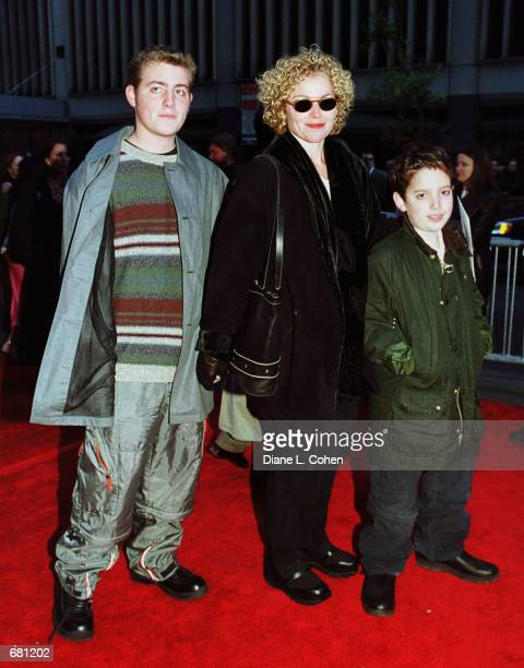 Actress Amy Irving and her sons arrive for the New York Premiere of the film 'Harry Potter and the Sorcerer's Stone' November 11 2001 at Ziegfeld...