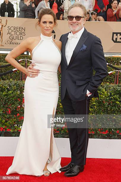 Actress Amy Landecker and actor Bradley Whitford attend the 22nd Annual Screen Actors Guild Awards at The Shrine Auditorium on January 30 2016 in Los...