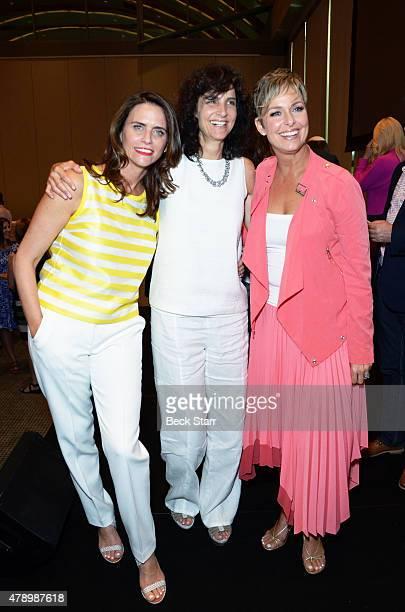 Actress Amy Landecker Tamara Klein and actress Melora Hardin attend 2015 Beth Chayim Chadashim Annual Awards Brunch honoring Jeffrey Tambor for his...