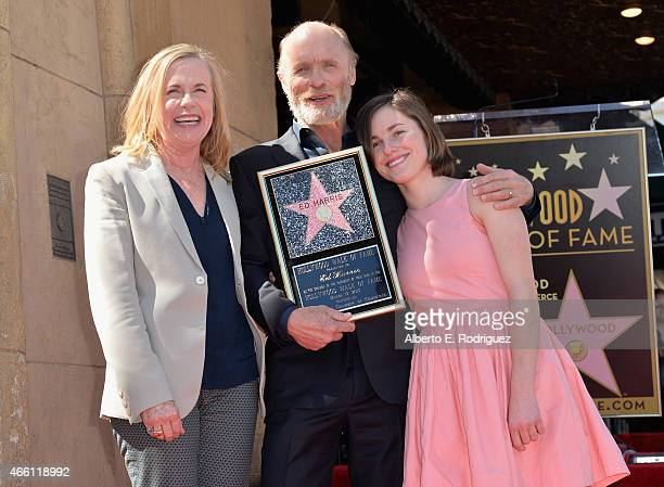 Actress Amy Madigan actor Ed Harris and Lily Harris attend a ceremony honoring Ed Harris with the 2546th Star on the Hollywood Walk Of Fame on March...