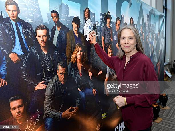 Actress Amy Morton attends a press junket for NBC's 'Chicago Fire' 'Chicago PD' and 'Chicago Med' at Cinespace Chicago Film Studios on November 9...