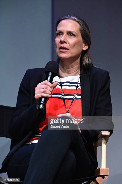 Actress Amy Morton speaks at Meet the Filmmaker 'Bluebird' during the 2013 Tribeca Film Festival at the Apple Store Soho on April 19 2013 in New York...