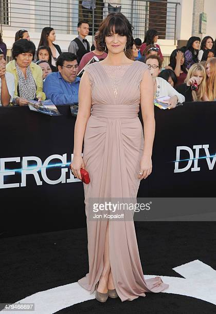 Actress Amy Newbold arrives at the Los Angeles Premiere 'Divergent' at Regency Bruin Theatre on March 18 2014 in Los Angeles California