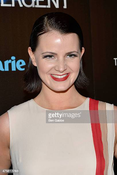 Actress Amy Newbold attends the Marie Claire The Cinema Society screening of Summit Entertainment's 'Divergent' at Hearst Tower on March 20 2014 in...