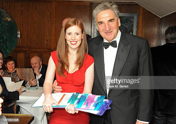 Actress Amy Nuttal working as a hostess and actor Jim Carter working as a waiter and magician attend One Night Only at The Ivy featuring 30 stage and...