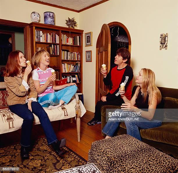 Actress Amy O'Neill Entertaining Friends