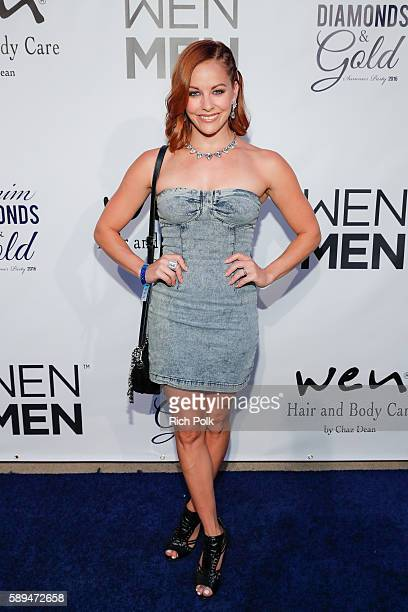 TV actress Amy Paffrath arrives at the Chaz Dean Denim Diamond Gold Summer Party Benefiting Love Is Louder on August 13 2016 in Los Angeles California