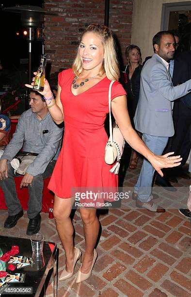 Actress Amy Paffrath attends and drinks Hula Girl at the Accelerate4Change charity event presented by Dr Ben Talei Cinemoi on August 29 2015 in...