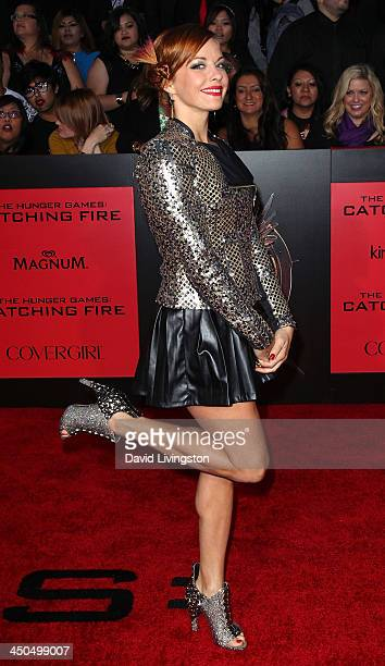 Actress Amy Paffrath attends the premiere of Lionsgate's 'The Hunger Games Catching Fire' at Nokia Theatre LA Live on November 18 2013 in Los Angeles...
