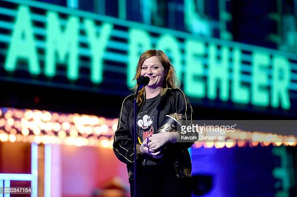 Actress Amy Poehler accepts Best Virtual Performance for 'Inside Out' onstage during the 2016 MTV Movie Awards at Warner Bros Studios on April 9 2016...