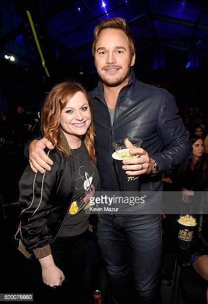 Actress Amy Poehler and actor Chris Pratt attend the 2016 MTV Movie Awards at Warner Bros Studios on April 9 2016 in Burbank California MTV Movie...