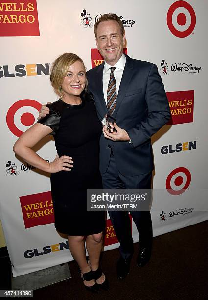 Actress Amy Poehler and Honoree and GLSEN Respect Chairman's Award recipient Robert Greenblatt pose backstage at the 10th annual GLSEN Respect Awards...