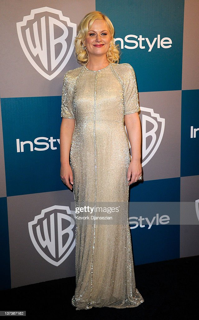 Actress Amy Poehler arrives at 13th Annual Warner Bros. And InStyle Golden Globe Awards After Party at The Beverly Hilton hotel on January 15, 2012 in Beverly Hills, California.