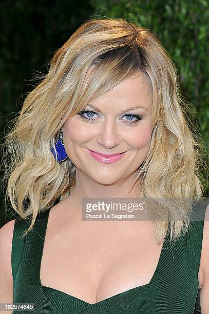 Actress Amy Poehler arrives at the 2013 Vanity Fair Oscar Party hosted by Graydon Carter at Sunset Tower on February 24 2013 in West Hollywood...