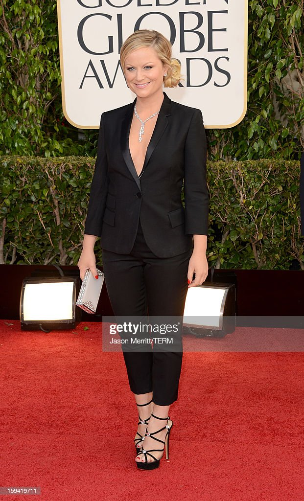 Actress Amy Poehler arrives at the 70th Annual Golden Globe Awards held at The Beverly Hilton Hotel on January 13, 2013 in Beverly Hills, California.