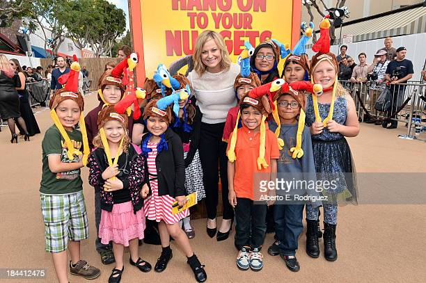 Actress Amy Poehler arrives at the premiere of Relativity Media's Free Birds at the Westwood Village Theatre on October 13 2013 in Hollywood...